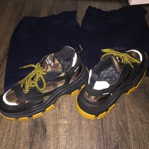 Prada Calzature Uomo Nylon Tech Pull Up Sneakers